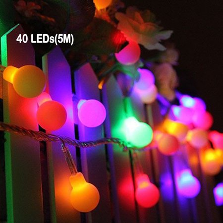 NK HOME String lights Outdoor Globe String Lights 16ft/33ft 100 LEDs lights Waterproof string lights for Xmas Tree Party Patio Garden Wedding, Multi Color - Patio Lights String