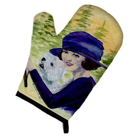 Woman driving with her Westie Oven Mitt