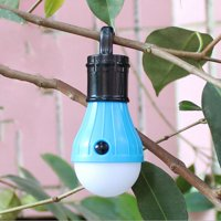 Portable 3 LED Lantern Tent Light Bulb for Camping Hiking Fishing Emergency Battery Powered Light (Blue)