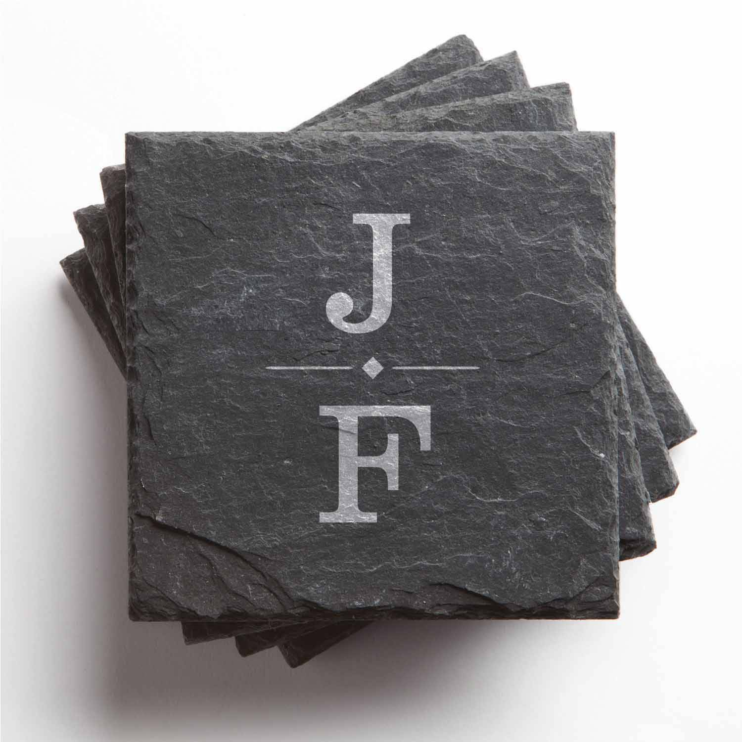 Personalized Our Initials Set of 4 Slate Coasters