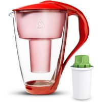 Dafi Alkaline UP Crystal Glass Water Pitcher 8 Cups Red + 1 Alkaline UP Water Filter BPA-Free