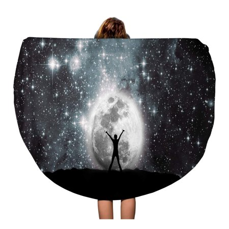 SIDONKU 60 inch Round Beach Towel Blanket Star Space Moon and Man Universe Sky Magic Galaxy Travel Circle Circular Towels Mat Tapestry Beach Throw
