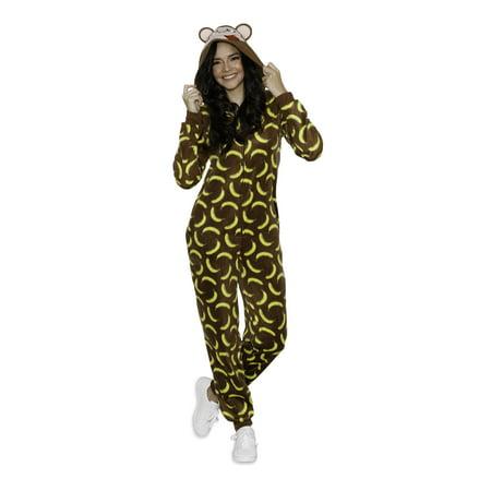 Body Candy Women's Plush Adult  Animal Hood or Santa Claus Onesie Pajama - Monkey Adult Onesie