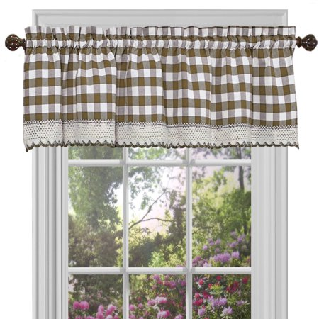 "Designer Home Window Curtain Valance Drape Checked Plaid Gingham Kitchen (58"" W x 14"" L)"