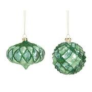 Cypress Home Emerald Ridges and Glitter Glass Ball Ornament, Set of 2