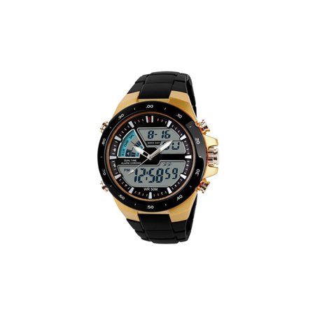 Gold Black PU Water Resistant Band Dual Week Time Zone.