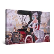 "Startonight Canvas Wall Art Abstract Black Red Retro Car and Woman Painting Framed 24"" x 36"""