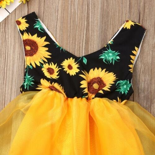UK Newborn Kid Girl Princess Party Tutu Dress Sunflower Romper Jumpsuit Bodysuit