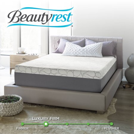 "Beautyrest 14"" Mattress-In-a-Box, SurfaceCool Gel Memory Foam, Multiple Sizes with Mainstays HUGE Pillow in 20""x28"" in Blue and White Stripe Bundle"