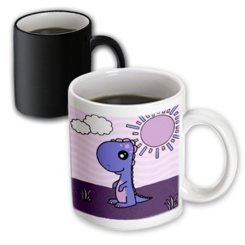 3dRose Cute Baby Purple Dinosaur Standing Scene, Magic Transforming Mug, 11oz