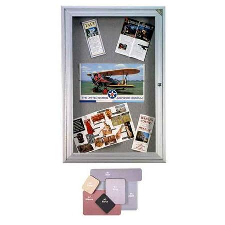 36 in. x 30 in. 1-Door Satin Aluminum Frame Enclosed Fabric Tackboard - Beige