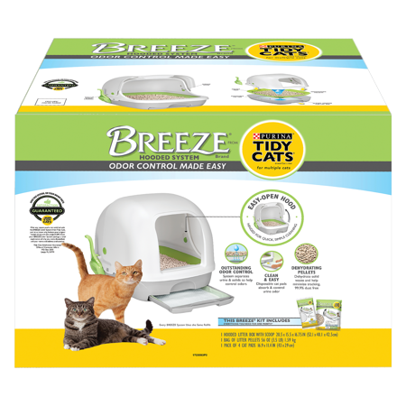 Litter Box Freshener - Purina Tidy Cats Hooded Litter Box System, BREEZE Hooded System Starter Kit Litter Box, Litter Pellets & Pads
