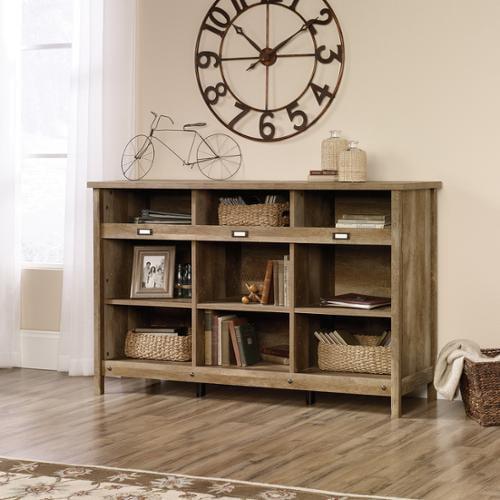 Sauder Woodworking 418344 Adept Storage Credenza Home Cubby Hole Craftsman Oak