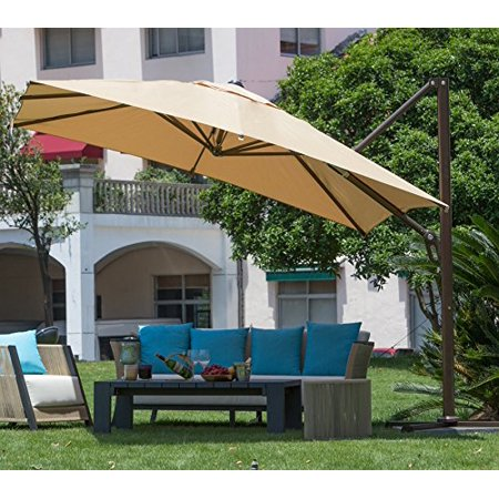 Abba Patio 10 Ft Square Easy Open Offset Outdoor Umbrella