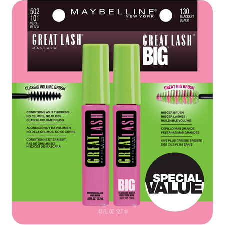 Maybelline Great Lash & Great Lash Big Mascara Set, 2 Pc ()
