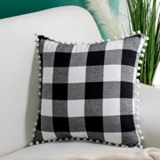 """Classic Retro Plaid Decorative Throw Pillow Cover with Pompom Tassel for Sofa Couch Bed 18""""x18"""" Black and White"""