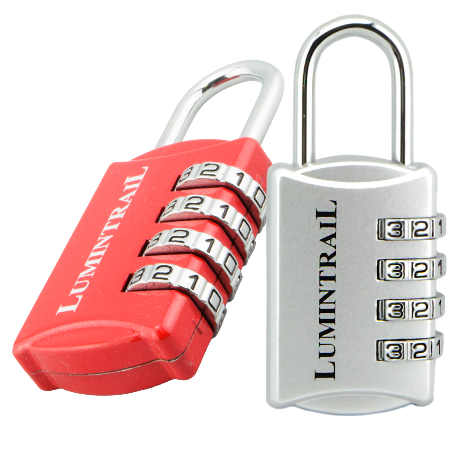 Lumintrail 2 Pack Set-Your-Own 4 Digit Combination Padlock with 1/2 Inch Shackle Lock All Metal - Assorted Colors