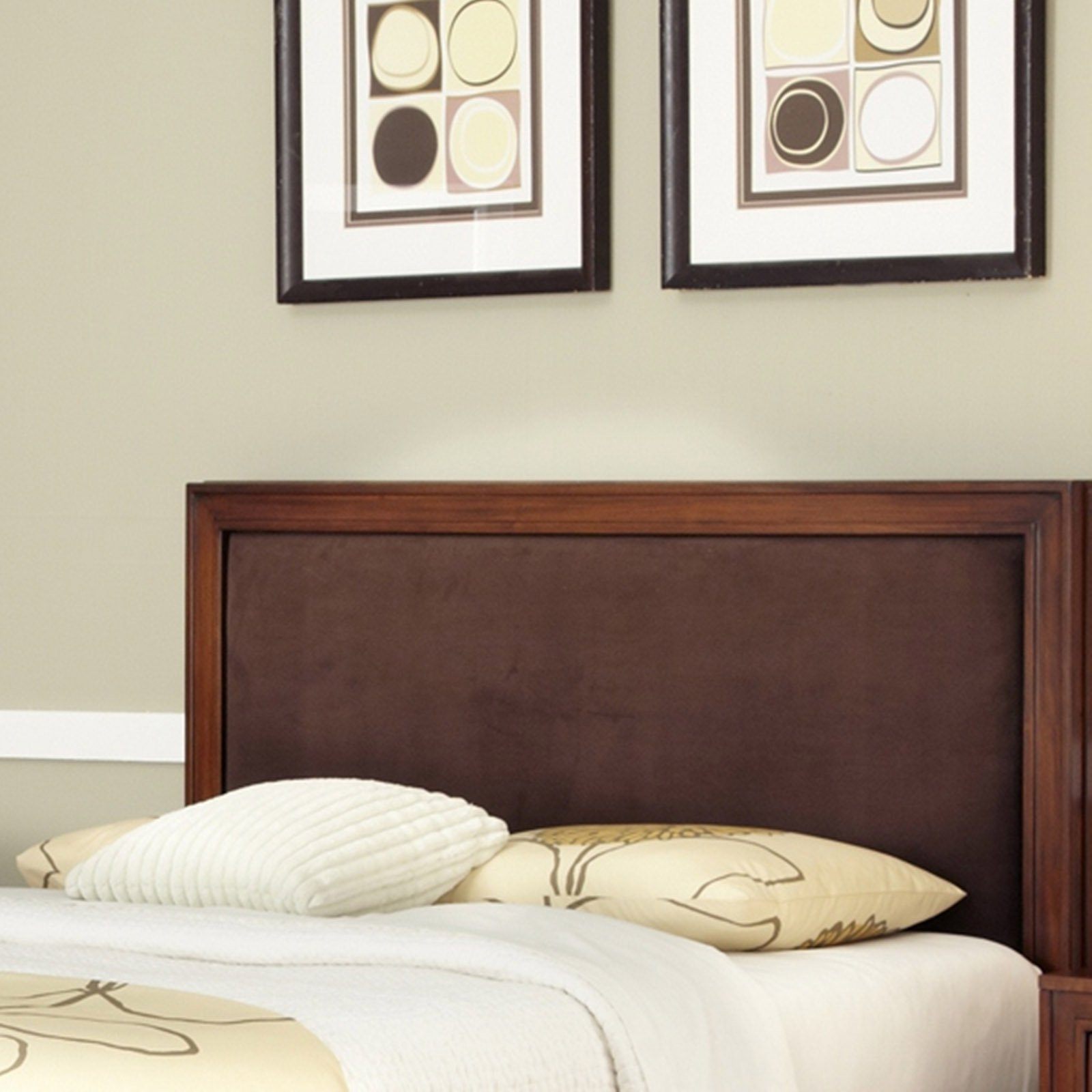Home Styles Duet King/California King Panel Headboard with Brown Microfiber Inset, Rustic Cherry