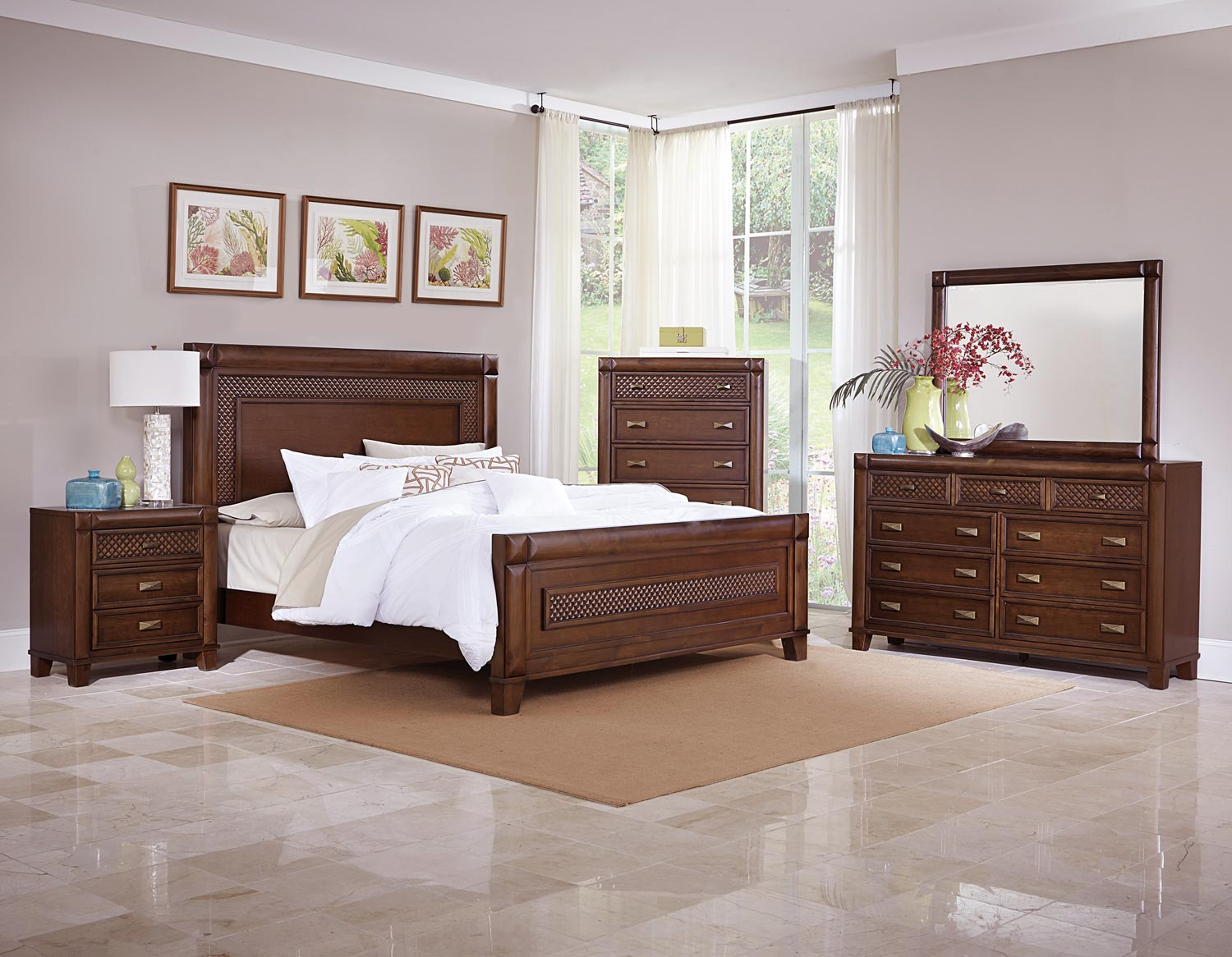 Tropical 5 Piece Contemporary California King Bedroom Set With Chest In  Warm Cherry Finish