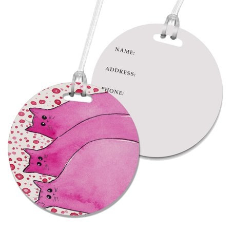 KuzmarK Luggage Travel Round Bag Tag -  Cherry Pink Chunky Kitties Abstract Cat Art by Denise