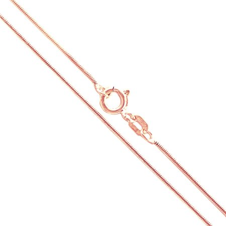 Tiffany Silver Plated Necklace - 22k Rose Gold Plated Sterling Silver Magic Snake Chain .8mm Solid 925 Italy Brazilian Necklace 28