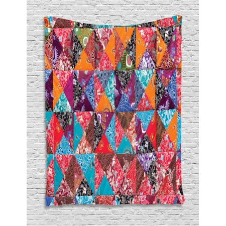 Wall Hanging Quilting (Balinese Tapestry, Colorful Cultural Asian Pattern in Quilting Style with Traditional Floral Details, Wall Hanging for Bedroom Living Room Dorm Decor, 40W X 60L Inches, Multicolor, by Ambesonne )