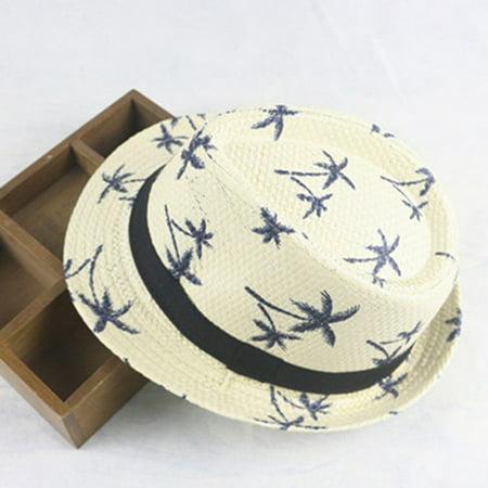 KABOER Children Kids Boys Girl Fedora Hat Trilby Cap Straw Jazz Sunhat Sunbonnet Summer