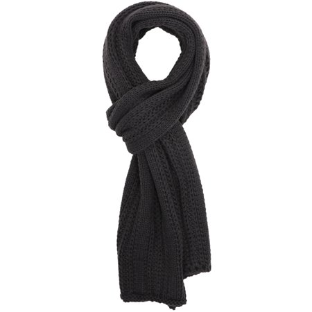 Simplicity Mens Solid Color Cable Stripe Knit Winter Fall Scarf, Dark Grey