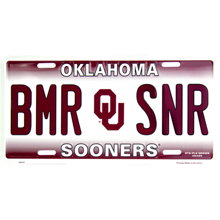 Oklahoma BMR SNR novelty vanity license plate
