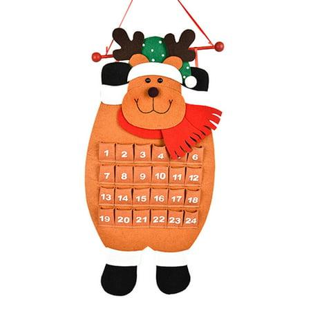 Christmas Holiday Advent Calendar - Christmas Old Man Snow Man Deer Calendar Advent Countdown Calendar