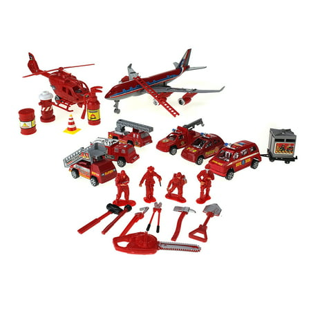 The Fire Rescue Station Toy Rescue Vehicle Playset w/ 6 Various Rescue Vehicles, Helicopter, Jet, 4 Figures, & Accessories