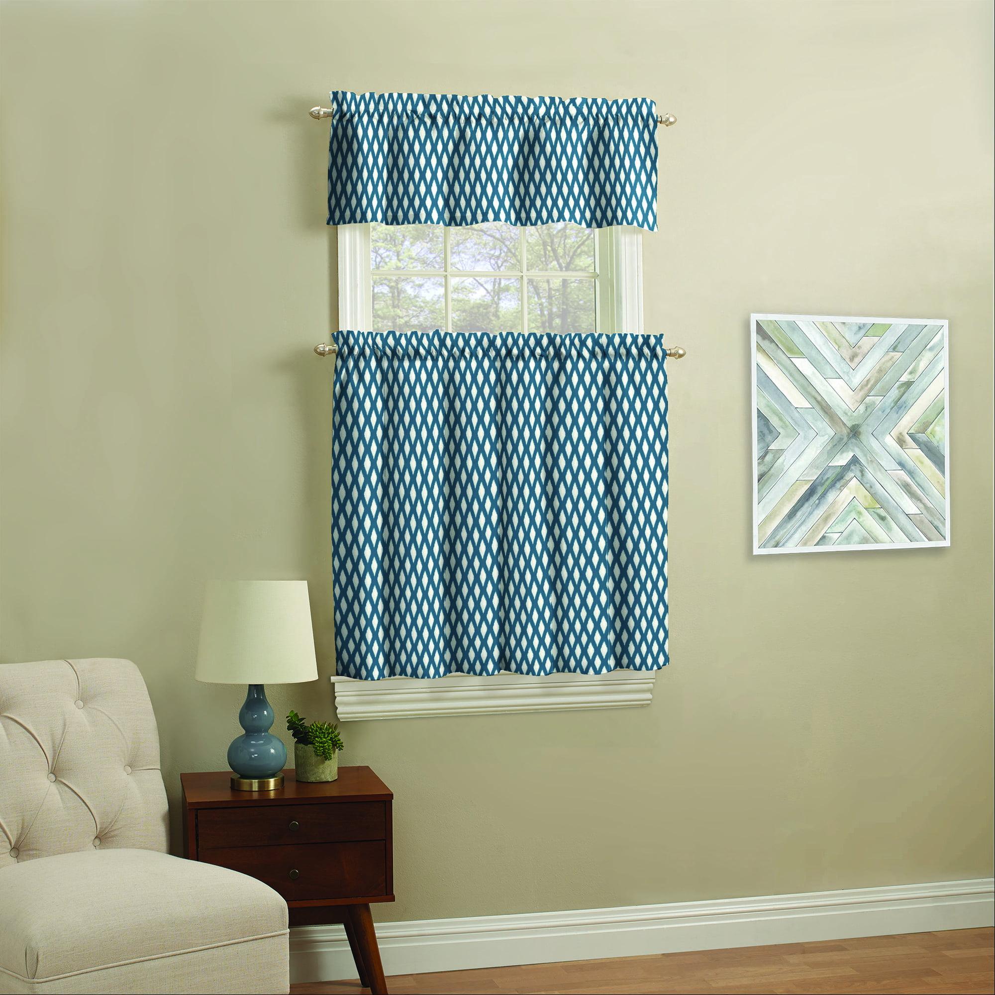 Mainstays Small Window Curtain Set, Navy Ikat, 3 Piece - Walmart.com