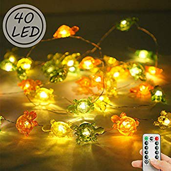 Turtle Shape Fairy String Lights, 8 Modes 40 LED Waterproof Decorative Ocean Lights with Remote Timer for Wedding, Party, Festival, Indoor, Outdoor Decor (Yellow)
