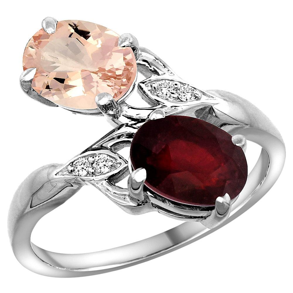10K White Gold Diamond Natural Morganite & HQ Ruby 2-stone Ring Oval 8x6mm, sizes 5 - 10