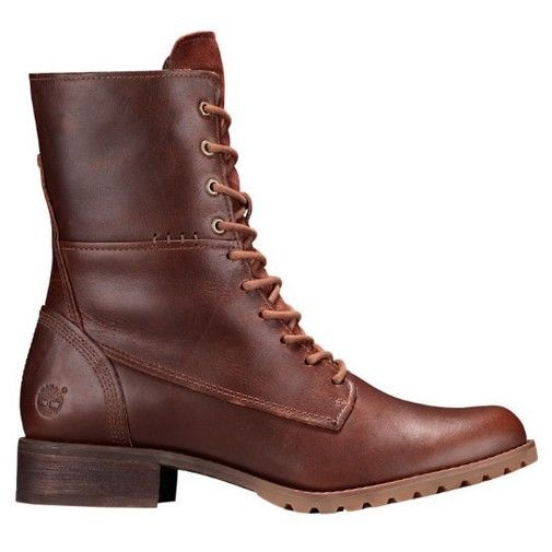 Timberland Banfield Mid Lace Women Round Toe Leather Brown Ankle Boot by Timberland