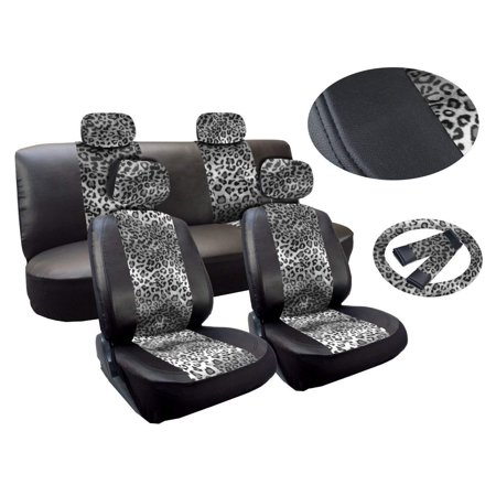 Front Row Leopard - Leopard Print Deluxe Leatherette 13pc Full Car Seat Cover Set Premium Synthetic Leather Double Stitched - Low Back Front Bucket Seats - Rear Bench - Steering Wheel Set - 4 Headrests (Gray Leopard)