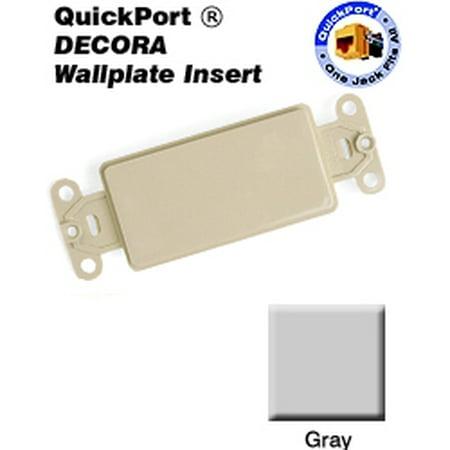 Leviton 80414-GY Wallplate -Gang Blank Insert Standard Size Nylon - Gray