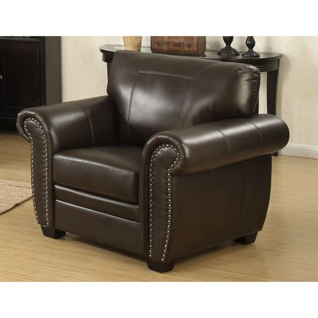 AC Pacific Louis Traditional Brown Leather Infused Fabric Stationary Arm Chair with Acccented Nail Head Trim (Lotus Chair)