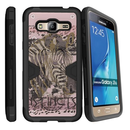Samsung Galaxy J3, Galaxy Sky Dual Layer Shock Resistant MAX DEFENSE Heavy Duty Case with Built In Kickstand - Pink Zebra Instinct