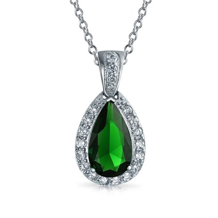 Pave AAA CZ Halo Simulated Emerald Green Pear Shaped Teardrop Pendant Necklace For Women Silver