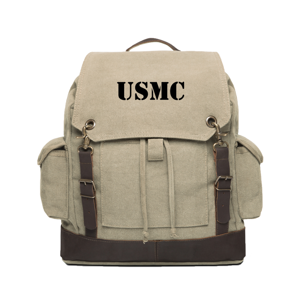 USMC United States Marine Corps Text Army Canvas Rucksack with Leather Straps