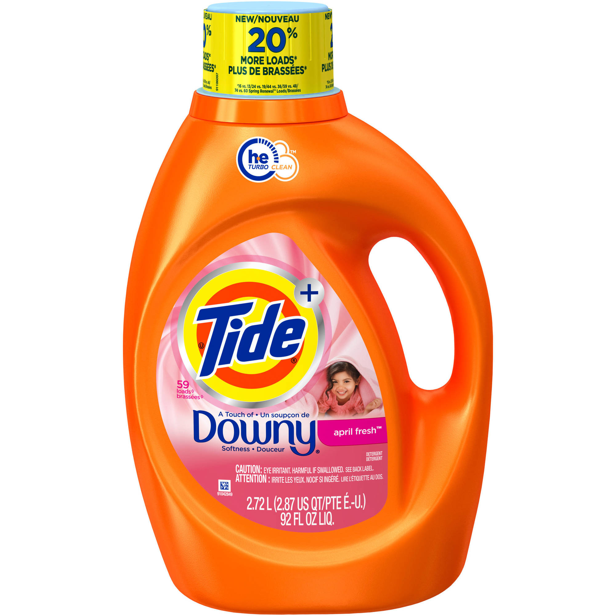 Tide Plus Downy April Fresh Scent HE Turbo Clean Liquid Laundry Detergent, 48 Loads, 92 oz
