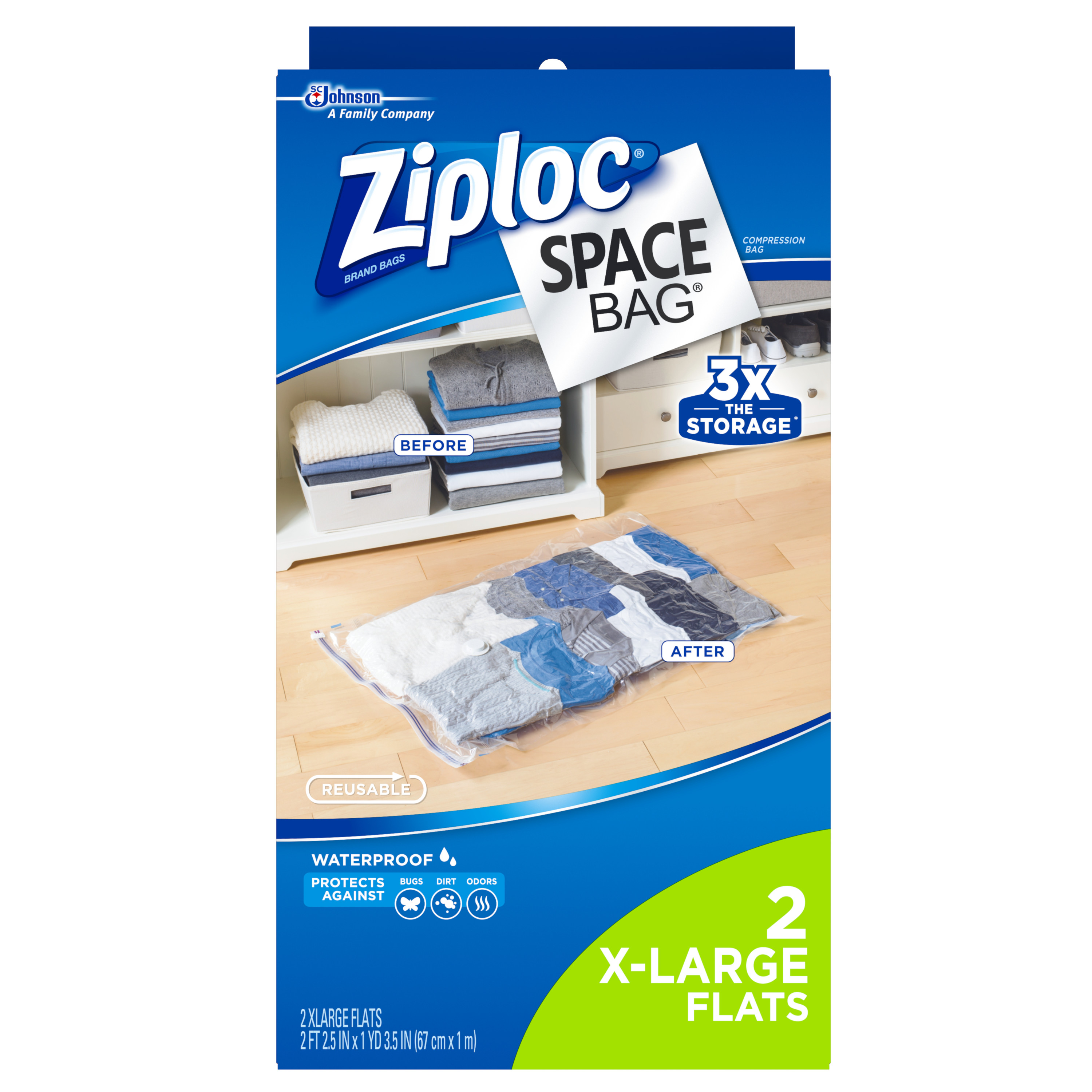 Ziploc Space Bag 2 count XL Flat Bag