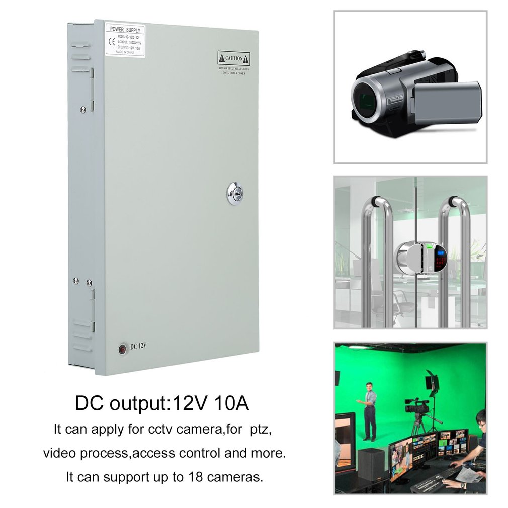 18CH Channel Power Supply Monitoring Power Box Case For CCTV Camera 12V 10A