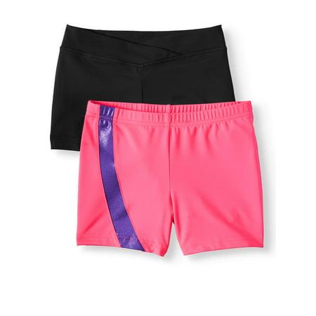 Danskin Now Girl's 2 Pack Dance Shorts (Pink Side Inset & Plain Black Premium Nylon Dance Shorts) (Dance Shorts For 8year Olds)