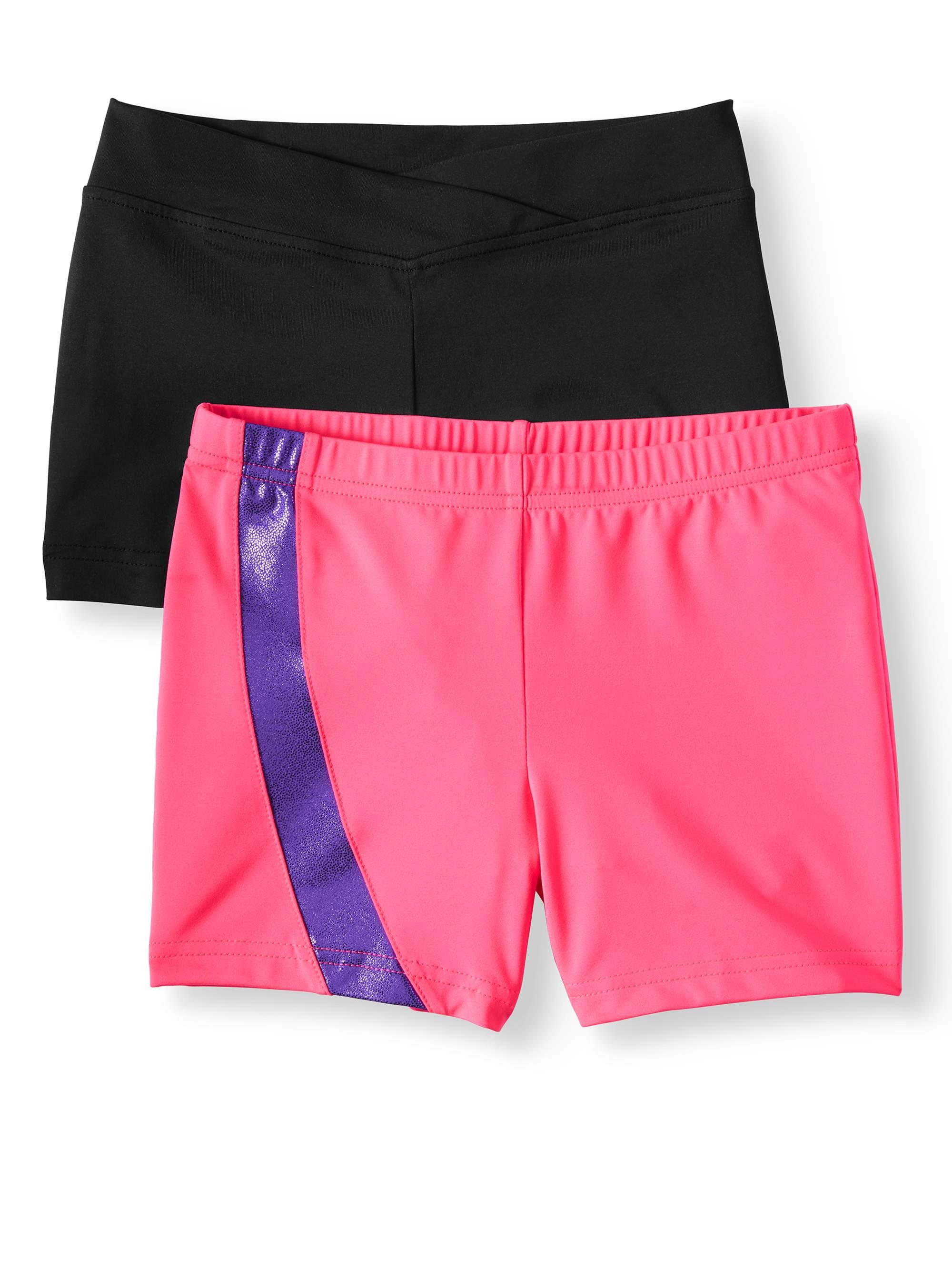 Danskin Now Girl's 2 pack shorts, Pink Side Inset short and Black Premium Nylon dance Short