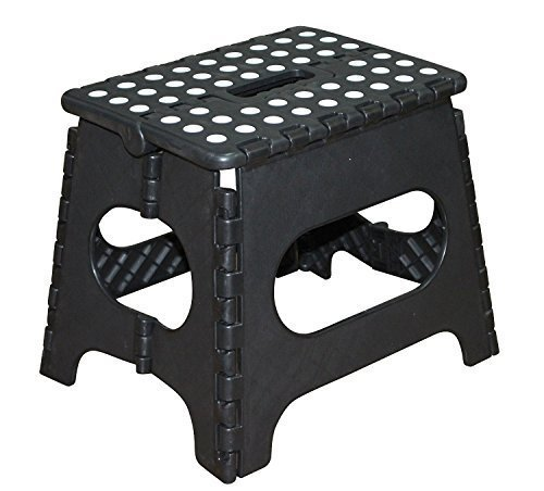 Jeronic 11 Inch Plastic Folding Step Stool Black
