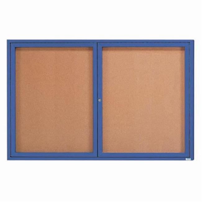 Aarco Products DCC3672RIB 2-Door Illuminated Enclosed Bulletin Board - Blue