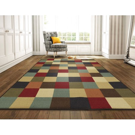 Ottomanson Ottohome Collection Contemporary Checkered Design Non-Skid Rubber Backing Modern Area or Runner Rug, Multicolor (Modern Rugs For Living Room Color)