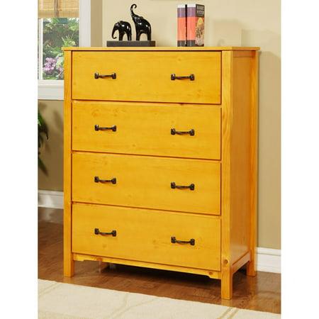 Elise 4 Drawer Dresser Honey Pine